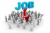 "3d man, leader lifting  the word ""job"" — Stock Photo"