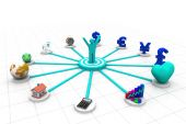 3d business person with business icons — Stockfoto