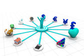 3d business person with business icons — ストック写真