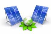 Solar panels with green world — Stock Photo