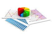 Business report, graph charts — 图库照片