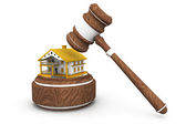 Gavel with house, Sale of a house — Stock Photo