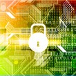 Cyber security concept, circuit board with Closed Padlock — Stock Photo #53565283