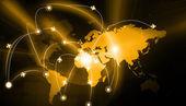 Самолет маршруты на цифровой модели земли — Стоковое фото