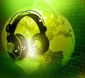 Mundo digital con auriculares — Foto de Stock