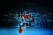 Business arrow solved the maze — Stock Photo