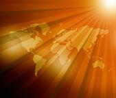 World Map  sunburst background — Stock Photo