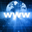 Www with globe on blue background — Stock Photo #53884827