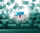Young people  making money online, outsourcing concept — Stock Photo