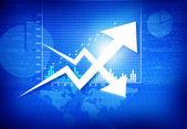 Zakelijke grafiek met pijl weergegeven: winst en verlies — Stockfoto