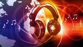 Digital world with headphones — Stock Photo