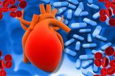 Medicamentos humanos de corazón y módem — Foto de Stock
