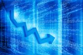 Moving business arrow graph — Stock Photo