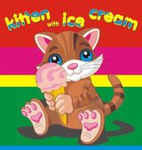 Vector illustration of brown kitten with ice cream — Cтоковый вектор