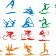 Set of vector silhouettes of people in sports — Stock Vector #68408129