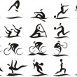 Set of vector silhouettes of people in sports — Stock Vector #68408953