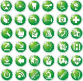 Medical icons in vector green — Stock Vector