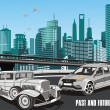 Urban, retro car in vector on background of the city — Stock Vector #70497061