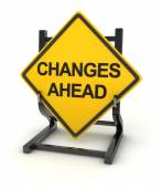 Road sign writing on changes ahead — Stock Photo