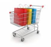 Shopping Bag in Shopping Cart — Stock Photo