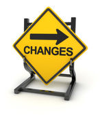 Road sign - changes ahead — Stock Photo