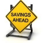 Road sign - savings ahead — Stock Photo #77589302