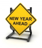 Road sign - new year ahead — Stock Photo