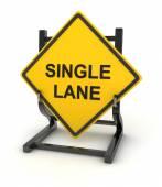 Road sign - single lane — Stock Photo