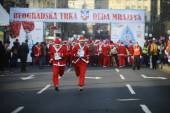 Participants of Belgrade Santa's Race — Foto de Stock