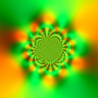 Постер, плакат: Abstract Science Fiction Futuristic Background Glowing Yellow And Green Sparkling Light Effect Kaleidoscopic Mandala Design Atypical Artwork Fractal Deep Subconscious Trance Hypnotic Vorte
