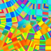 Abstract Background in Rainbow Colors - Concentric Yellow Mandala - Multicolored Mosaic - Digital Art Collage - Kaleidoscopic Design - Artwork Illustration - Psychedelic Colourful Backgrounds - — 图库照片