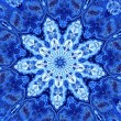 Постер, плакат: Abstract Unique Blue Fractal Mandala Hypnotic Psychedelic Shapes Background with Watercolor Effect Digital Artwork for Creative Design Generated Fractals Pattern Unusual Art Illustration