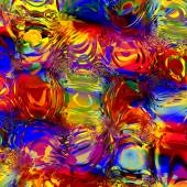 Abstract Colorful Digital Water Effect - Digitally Generated Image - Background for Design Artworks - Semitransparent Overlying Shapes - Red Blue Yellow Chaotic Pattern with Color Aberrations - — Stock Photo
