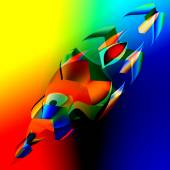 Interesting Colorful Abstract 3d Fish - Art Illustration - Digitally Generated Image of Blue Orange Irregular Shapes - Futuristic Background - Chaotic Digital Red Yellow Green Graphic - Strange Crazy — Stock Photo