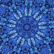 Beautiful Detailed Blue Mandala Fractal. Abstract Background Pattern. Decorative Modern Artwork. Creative Ornate Image. Retro Style Design Element. Digital Fantasy Graphic. Dye Effect. Various Blots. — Stock Photo #69146327