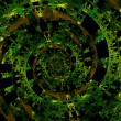 Beautiful Strange Digital Spiral. Abstract Fractal Art. Green Black Background Illustration. Creative Dark Fantasy Composition. Colored Infinity Vortex. Decorative Futuristic Graphic. Effect. — Stock Photo #69147061