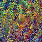 Colorful Psychedelic Mandala Pattern. Unique Creative Abstract Background. Red Green Blue Colors. Artistic Weird Shapes. Digital Fantasy Image. Colored Fractal Decoration. Beautiful Graphic. — Stock Photo