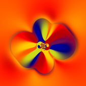 Strange Flower Shape. Abstract Colorful Fractal. Creative Fantasy Artwork. Floral Art. Artistic Computer Generated Image. Blue Yellow Red Orange Colors. Soft Decorative Vortex Graphic. Decoration. — Photo