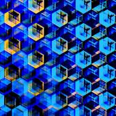 Abstract Blue Hexagons Background. Modern Hexagonal Color Illustration. Geometric Art Texture. Artsy Polygonal Backgrounds. Decorative Mosaic Design. Hexagon Set. Creative Digital Wallpaper. — Stock Photo
