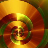 Metallic Fantasy Spiral. Abstract Digital Background. Creative 3d Texture. Modern Fractal Design. Green Gold Art Illustration. Beautiful Golden Style Swirl. Elegant Graphic Image. Futuristic Surface. — Stock Photo