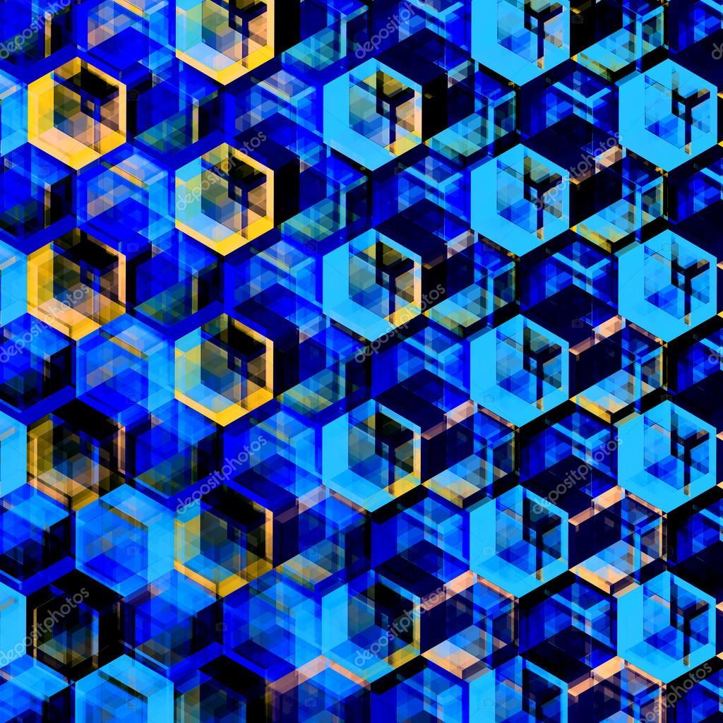 Abstract Blue Hexagons Background. Modern Hexagonal Color