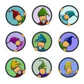 Set of characters, gnomes in circles — Stockvektor