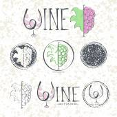 Set labels, wine with grapes, lettering and logo. — Vector de stock