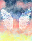 Watercolor background with wings. — Stock Vector
