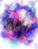 Watercolor background with wings. — Vettoriale Stock