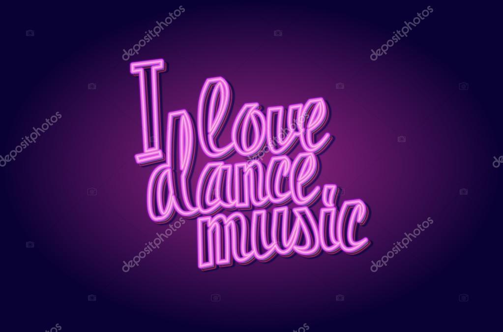 ich liebe tanz musik neon schriftzug stockvektor. Black Bedroom Furniture Sets. Home Design Ideas