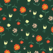 Vector seamless pattern with flowers of doodles made using stencil. — Vettoriale Stock