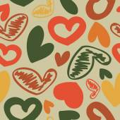 Fun seamless vintage love heart background in. pretty colors. — Stock Vector