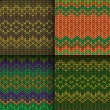 Set of seamless knitted patterns — Stock Vector #62225107