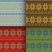 Set of seamless knitted patterns — Stock Vector